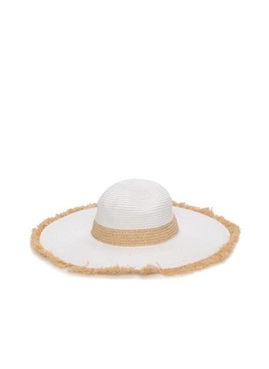 NetWork 1074497 Püskül Detaylı Kadın Hasır Şapka Beyaz